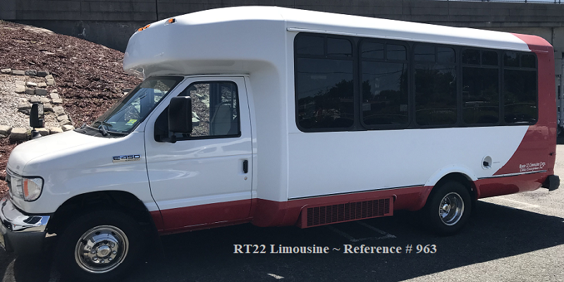 White and Red Shuttle with Wheelchair Accessibility